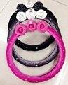 Linda 380 MM Floral anti-estático bonito cobertura de volante de carro de pelúcia para as meninas das mulheres tampa da roda de direcção do carro