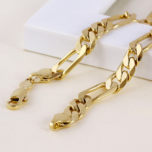 Image 1 - Mens 24 k Solid Gold FINISH  8mm Italian Figaro Link Chain Necklace 24 Inches