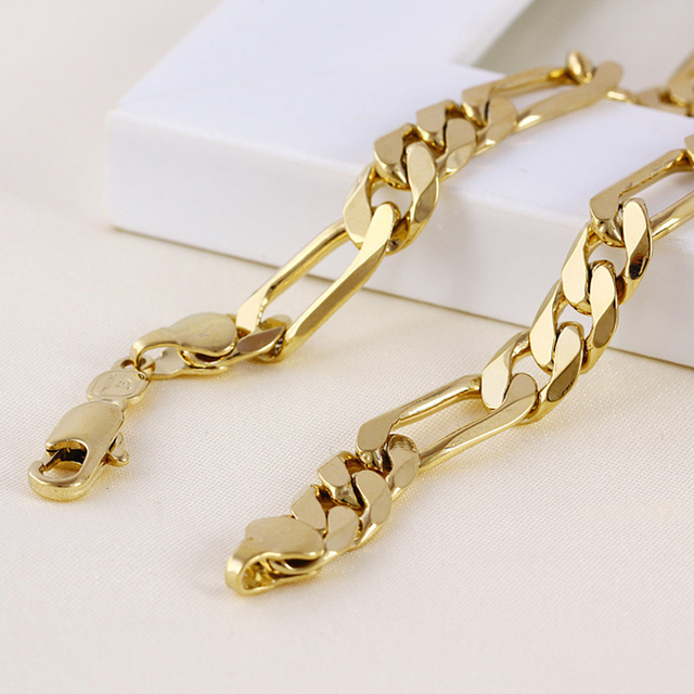 Mens 24 k Solid Gold FINISH  8mm Italian Figaro Link Chain Necklace 24 Inches