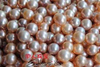 22pcs/lot Freshwater Loose Pearls, NATURAL!!! Round Shape Beads, 7-7.5mm Size, Orange&Purple Color, HALF DRILLED+FREE SHIPPING