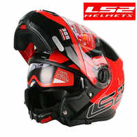 LS2 FF325 estroboscópico abatible hacia arriba moto rcycle casco hombre Modular Racing capacete ls2 casco moto casco para moto DOT casco