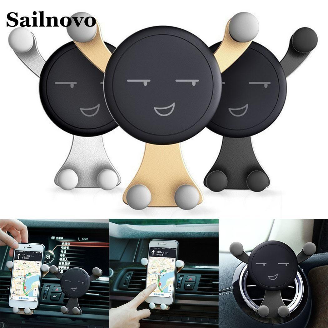 Sailnovo Cartoon Car Holder Cute Mobile Phone car accesories Stand Gravity Stand Mini Auto Car Mount holder for phone in car hoco ca5 sucking disc auto clip phone car mount holder