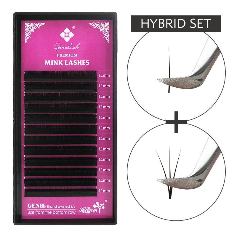 Genie Individual Eyelashes Mink Eyelash Extensions Hybrid Lash Extensions Makeup Lashes Salon Use Volume Eyelash Extensions