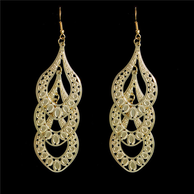 H:HYDE Wholesale Fashion Vintage Gold Color Leaves Long Drop Earring For Women G