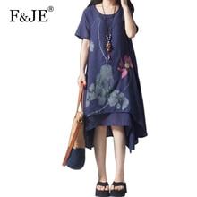 F & Je 2018 Летний стиль Для женщин Свободные Повседневное хлопок белье длинное платье Высокое качество Винтаж живописи тушью Марка платье плюс Размеры g13