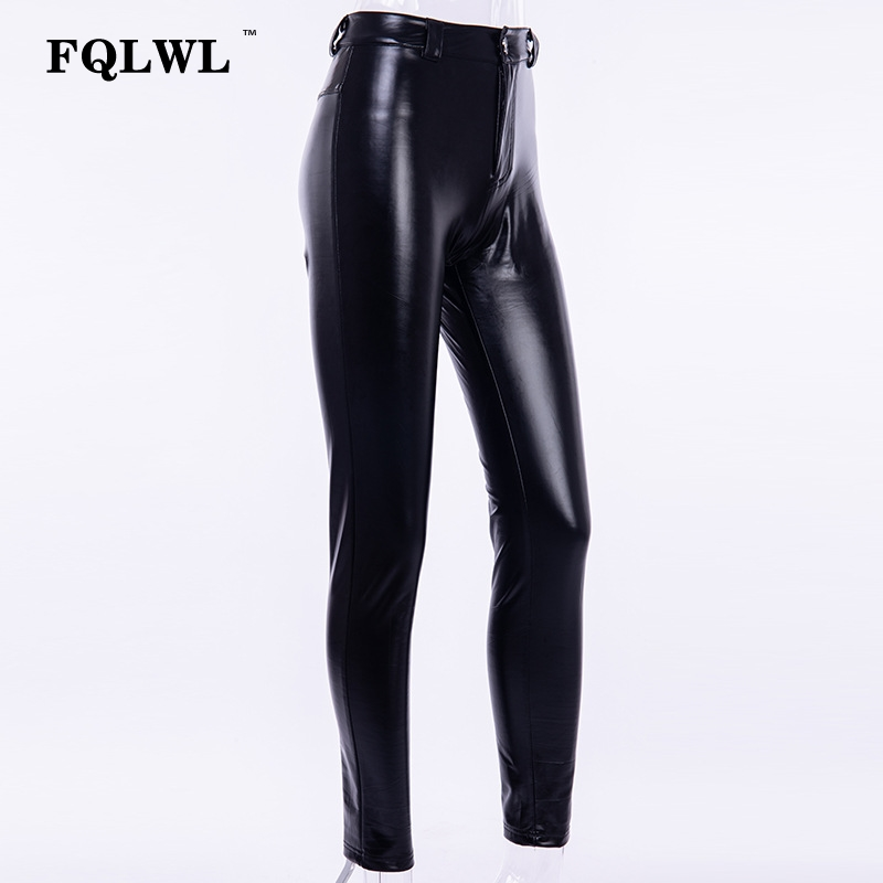 FQLWL Punk Bodycon Faux Pu Leather Pants Women Push Up Black High Waist Pants Female Autumn Winter Trousers Women Sexy Pants 16