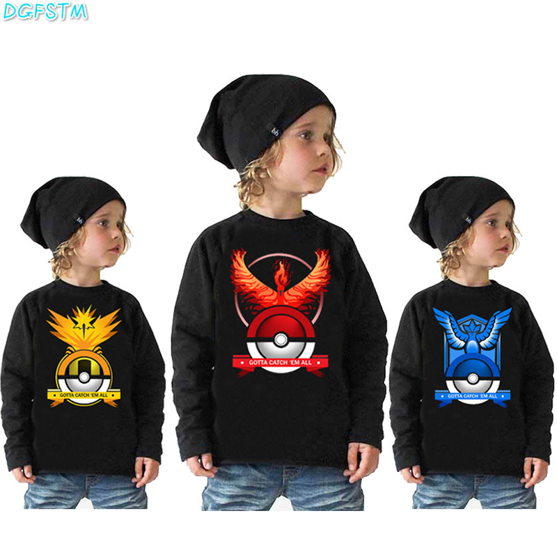 2017 Autumn Kids T-shirt pokemon Go Pikachu T shirts Long Sleeve Tees Boys Girls Tops Vestidos Kids Costume 2-10Y Boys Clothing