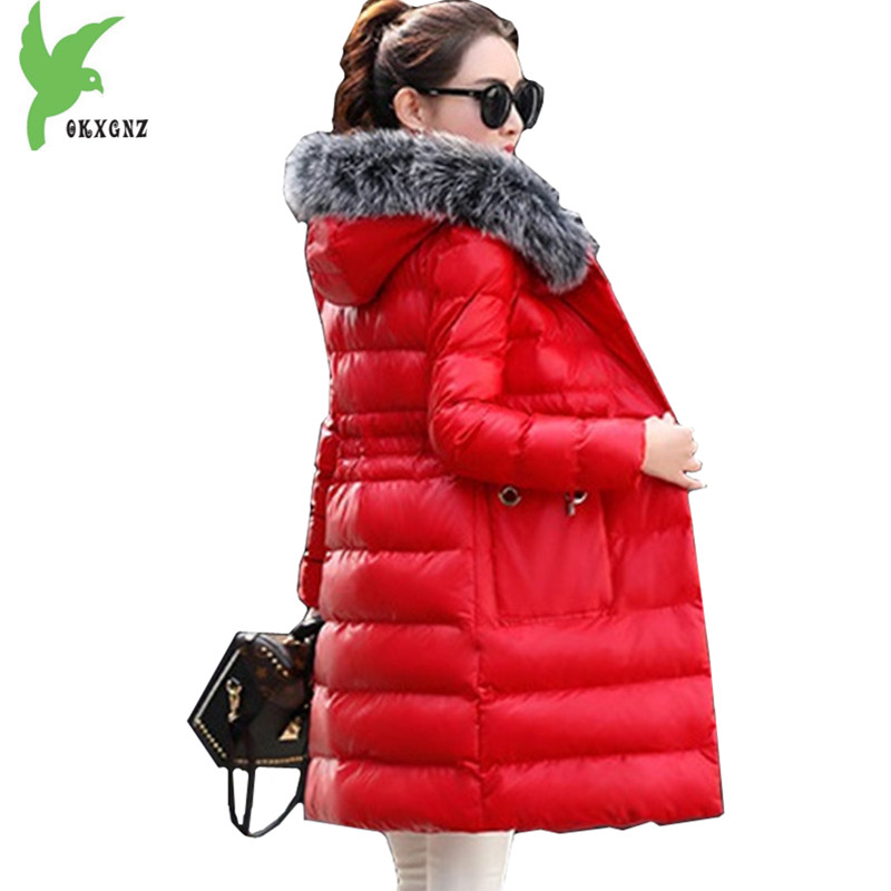Boutique Women Winter PU Leather Jacket Coats Down Cotton Parkas Hooded Fur collar Jackets Plus size Slim Warm Coats OKXGNZ 1126