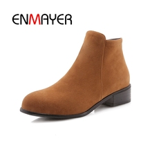 ENMAYER Female Denim Knight boots Metal pointed-toe High heel women Ankle Warm Autumn Winter footwear shoes CR1487
