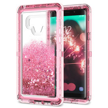 Luxury 3 in1 Quicksand Bling Phone Case For Samsung Galaxy S9 S8 Plus Note 8 S7 Edge Cover TPU For Hard Dynamic Glitter Liquid