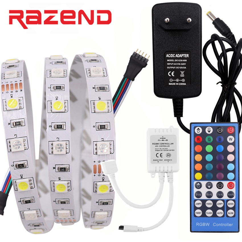 IP21/ IP65 Waterproof RGBW RGBWW RGB LED Strip light SMD 5050 5M DC12V Tape / 44key /40key Remoter Controller / 3A Power Adapter