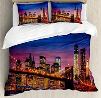New York Duvet Cover Set NYC That Never Sleeps Reflections on Manhattan East River City Print Decorative 4 Piece Bedding Set