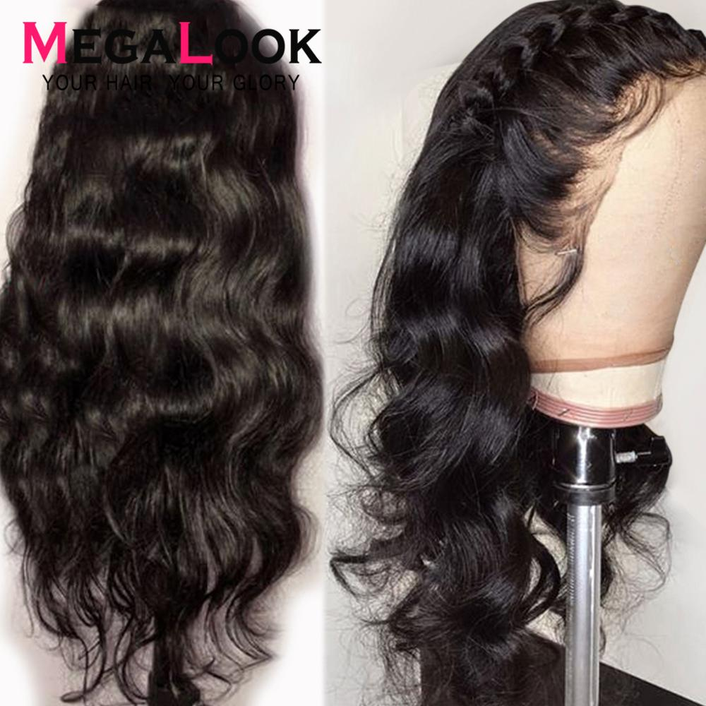 Lace Front Human Hair Wig Body Wave Wig 180% Density 30 Inch Remy Pre Plucked With Baby Hair Natural Lightweight Megalook 13x4
