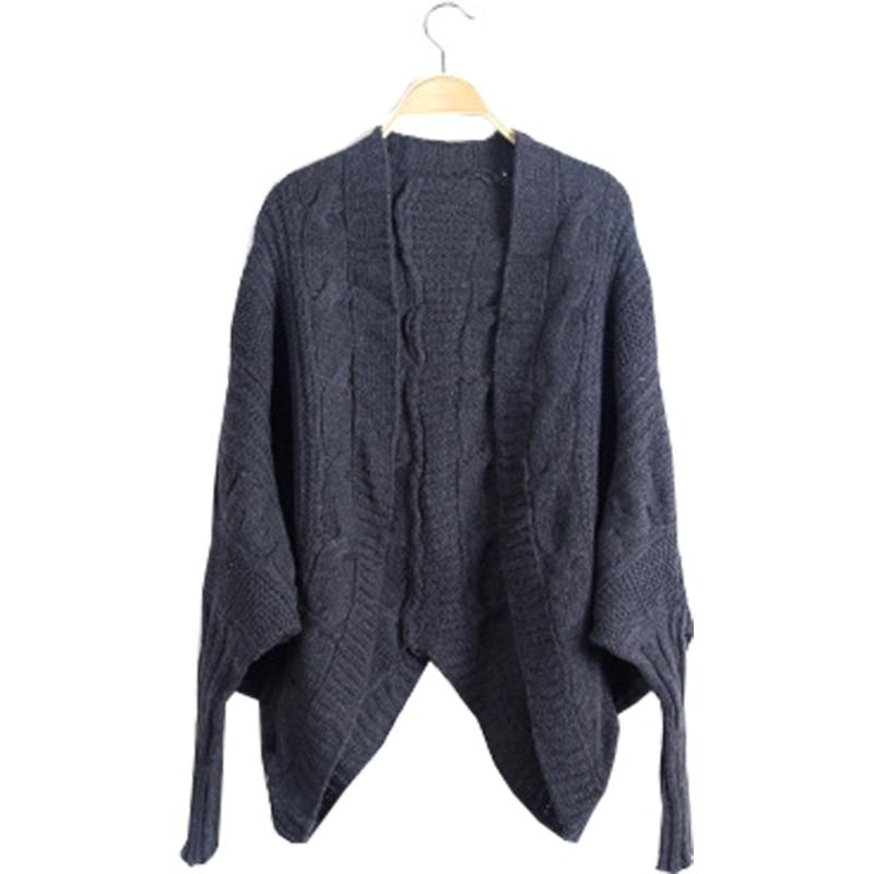 59bd7f8ad7d2 Mulheres camisola de malha bat mangas casaco cardigan xale solto outono  inverno jaqueta grossa camisa vestuário