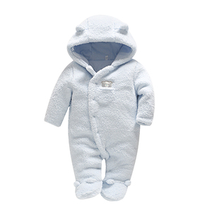 Image 3 - Newborn baby clothes bear baby and girls rompers hooded plush jumpsuit winter overalls for kids roupa menina baby clothing