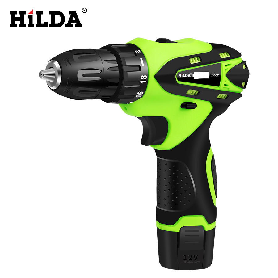 HILDA 12V Electric Screwdriver Lithium Battery Rechargeable Parafusadeira Furadeira Multi-function Cordless Electric Drill