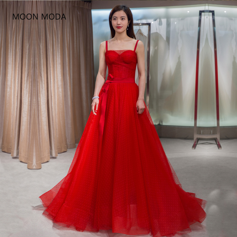 MOON MODA Sleeveless long red evening dress 2018 plus size formal ...