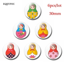 6PCS Fridge Magnets Lovely Flowers Russian Sleeve Doll 30MM Glass Dome Note Holder Magnetic Decoration Refrigerator Stickers