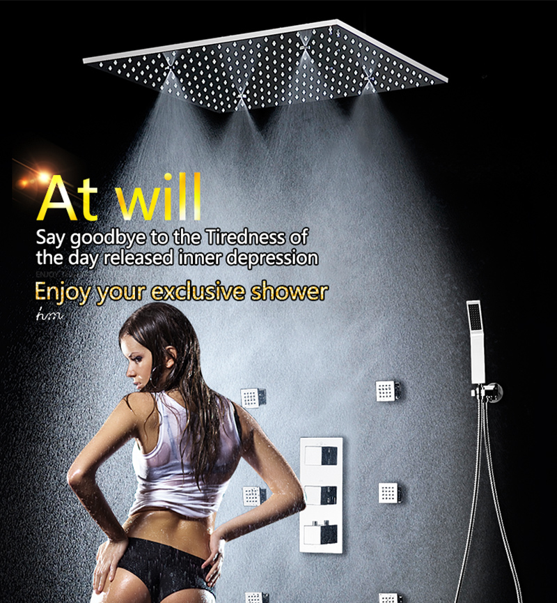 20 Shower Head Rainfall Mist SPA 4 Ways Concealed Thermostatic Shower Set 6 Massage Body Jets Panel Embedded Ceiling  2016 hm (1)