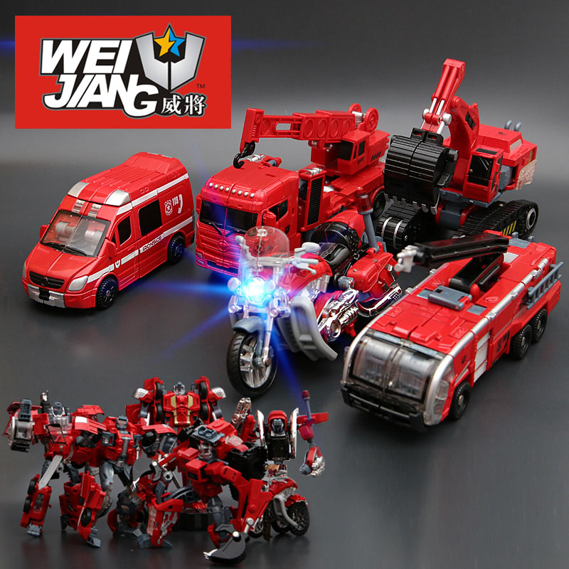 Transformation fire rescue crane will respect the deformation of toy motorcycle body fire truck car diamond digging machine ...