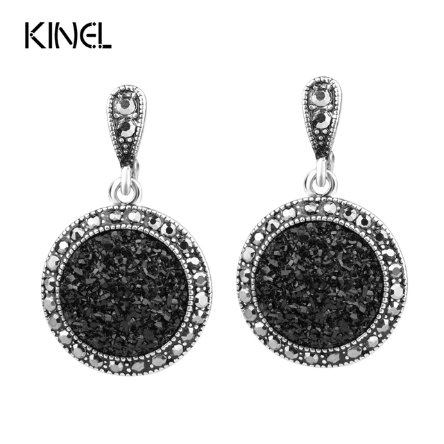 Hot 2016 Fashion Black Broken Stone Accessories Earring For Women Bohemia Silver
