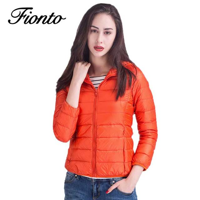 67887d9ae2fa Winter Women Ultra Light Down Coat 90% Duck Down Hooded Jackets Warm Long  Sleeve Casual Parka Female Solid Slim Overcoat F594