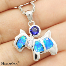 Beautiful Dog Design Blue Australia Mystical Opal Topaz 925 Sterling Silver Necklace Pendant  1