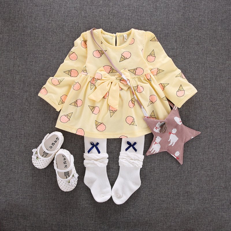 2017 Hot Infant Baby Ice Cream Print Dress Long Sleeve