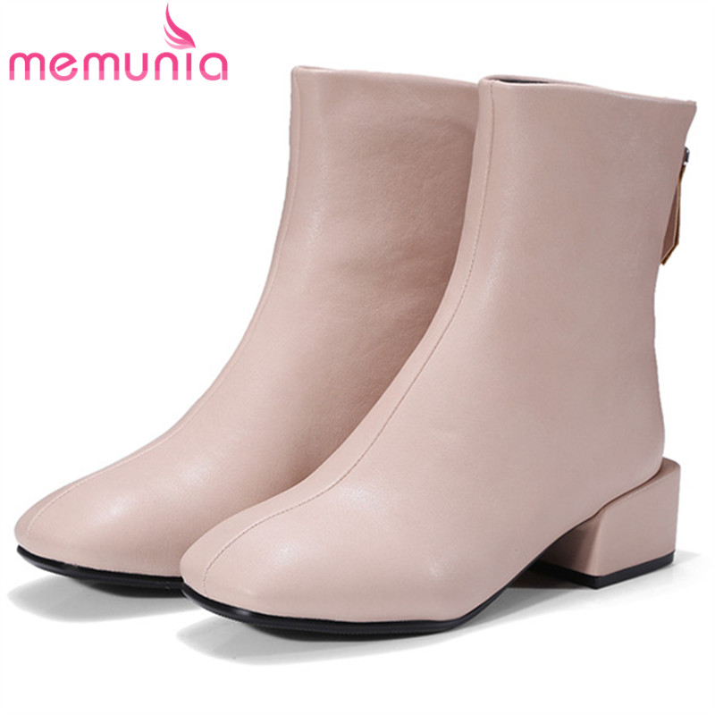 MEMUNIA Med heels shoes woman fashion boots in spring autumn ankle boots for women square toe zip solid big size 34-42 memunia 2017 fashion flock spring autumn single shoes women flats shoes solid pointed toe college style big size 34 47