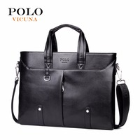 VICUNA POLO Unique Rivet Design Men Briefcases With Vertical Silt Pocket Perfect Quality Casual Male Office