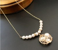 women's silver Genuine Natural Clavicular chain large pearl necklace style short necklace Baroque pearl web celebrity open