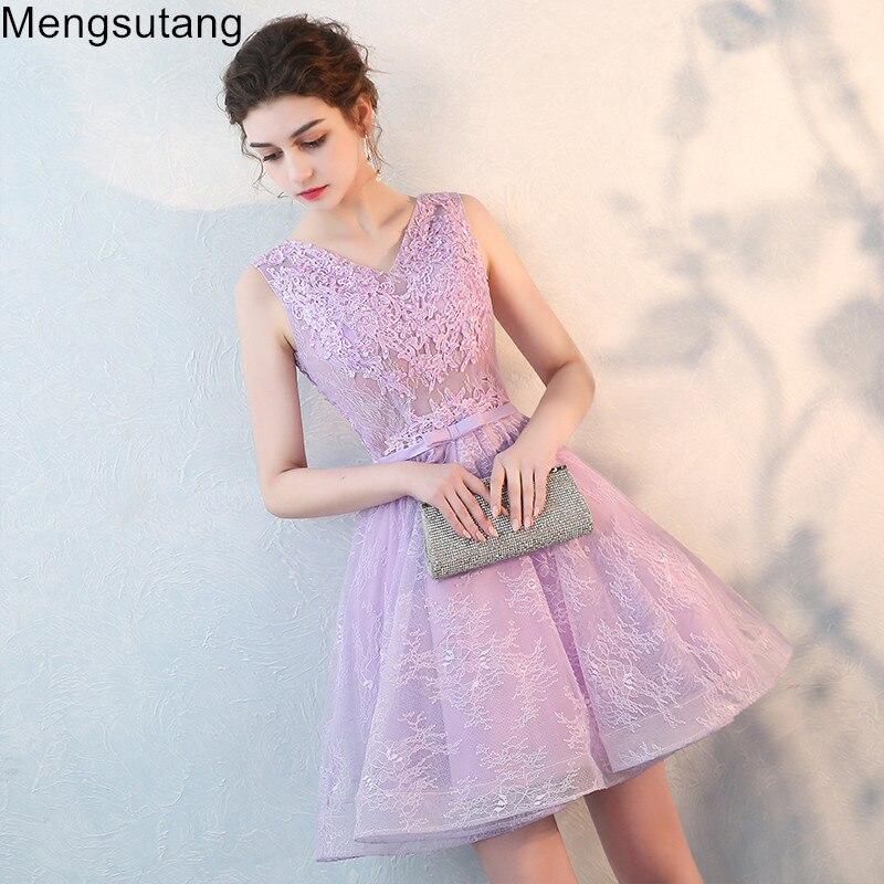 Robe de soiree 2019 violet V-Neck sleeveless short   evening     dress   vestido de festa prom   dresses   party   dress   tailor Custom made