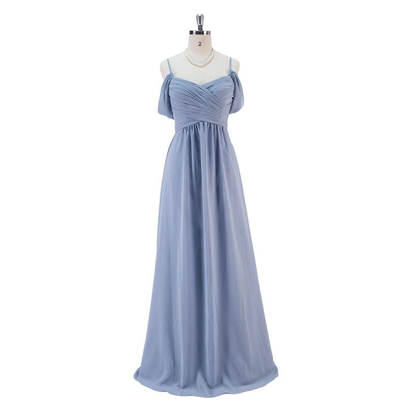 Steel Blue Long Chiffon Bridesmaid Dresses Wedding Party Dress 1