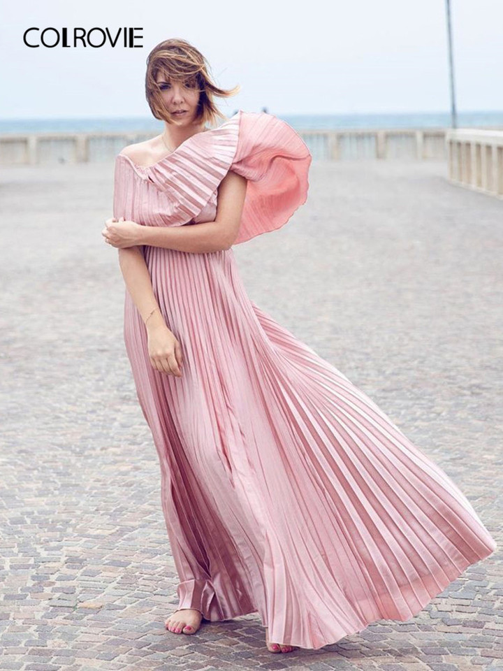 61ed101684f37 COLROVIE Pink Off the Shoulder Flounce Pleated Satin Girls Sexy Dress Women  2018 Autumn Party Dress Club Elegant Maxi Dresses