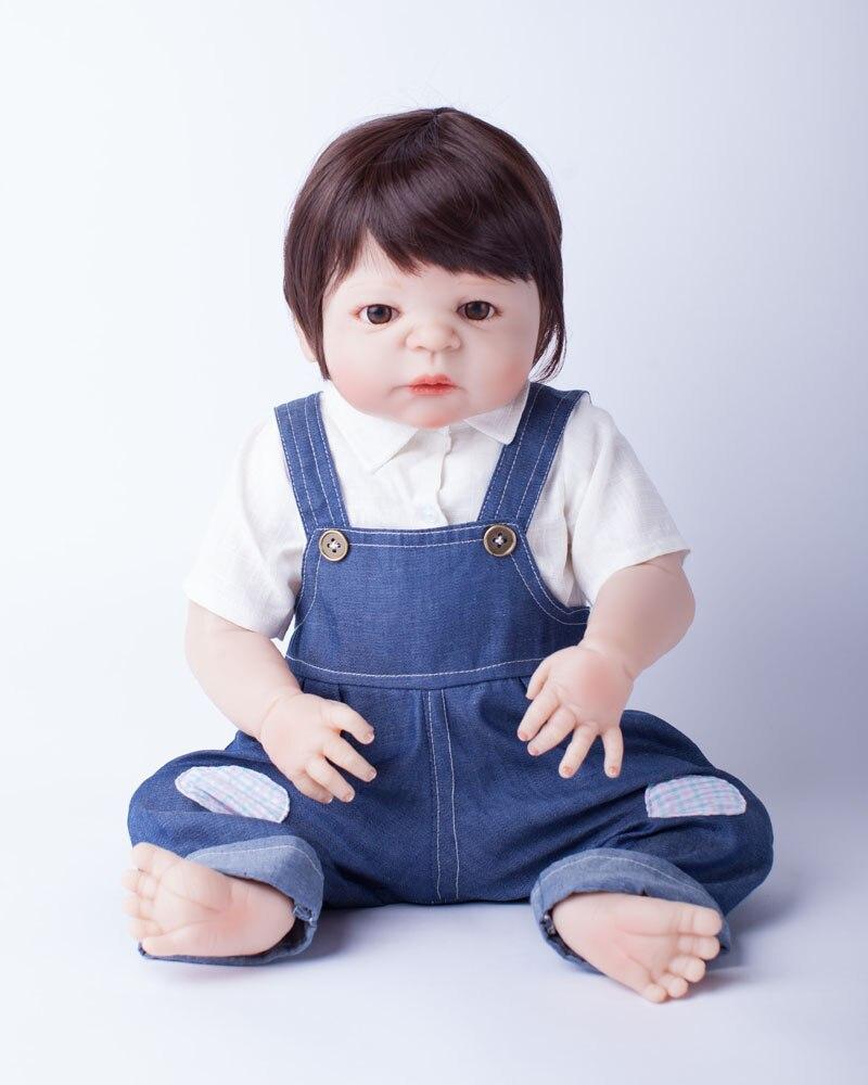 55cm corps entier Silicone Reborn bébé poupée jouets jouer maison nouveau né garçon bébé cadeau d'anniversaire noël présent bain jouet-in Poupées from Jeux et loisirs    2