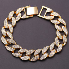 Micro Pave Cubic Zircon Hip Hop Chain Rhinestone Crystal Bracelets For Lovers' Gold/Sliver Wristband Charm Punk Luxury Jewellery(China)
