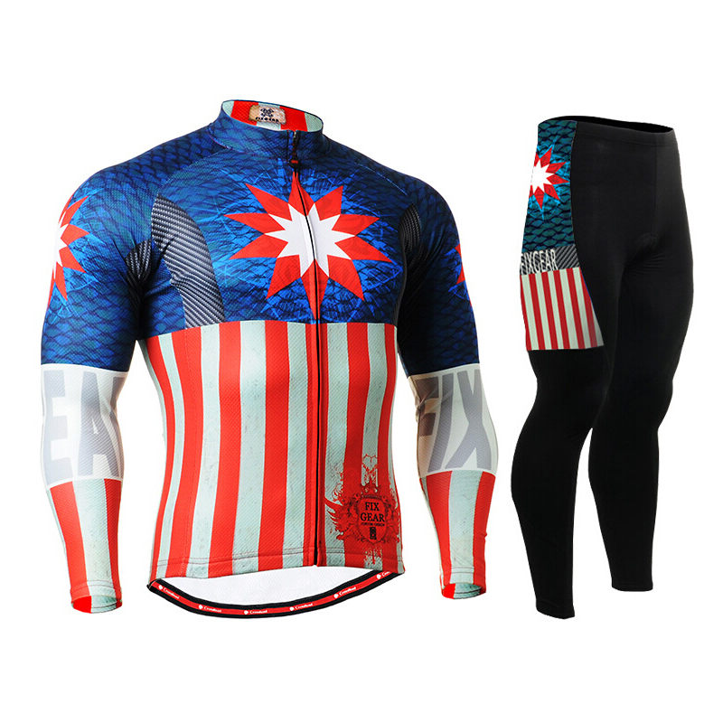 Hot Mens Captain America Cycling Jerseys Sets Avengers Bike Clothings Breathable Mountain Bike Long Sleeve Printing Sports Wears wosawe men s long sleeve cycling jersey sets breathable gel padded mtb tights sportswear for all season cycling clothings