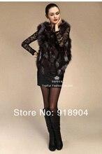 Free Shipping Women100% Genuine real natural Silver Fox Fur warm coat Vest Gilet Waistcoat vest