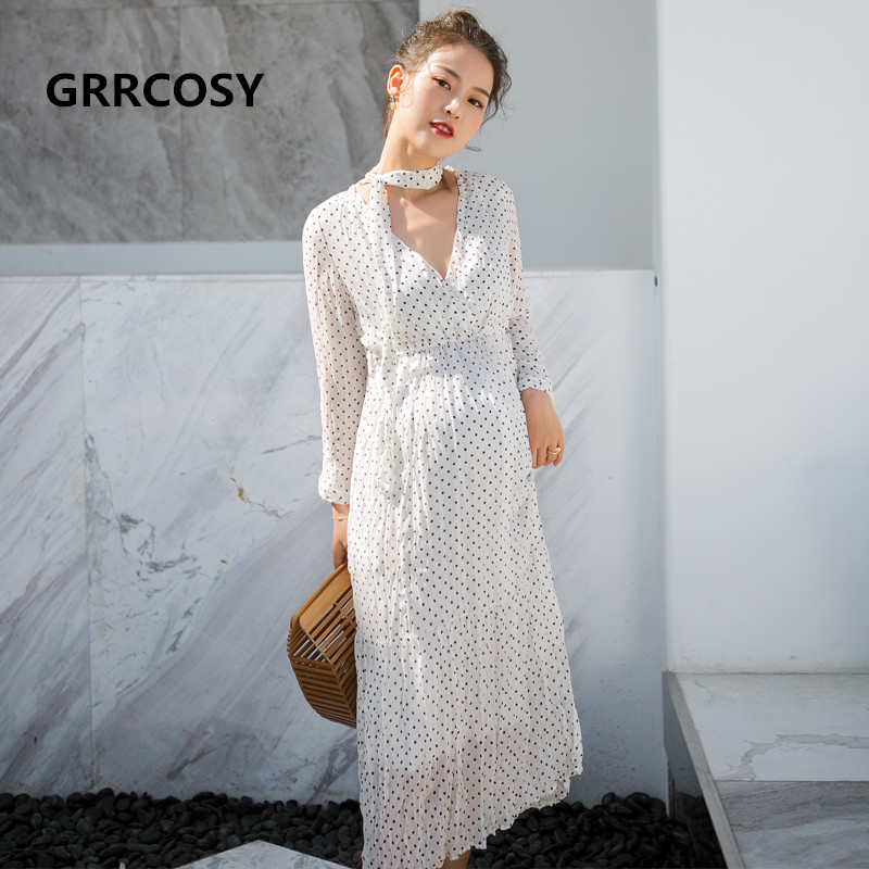 GRRCOSY White Black Dot Maternity Pregnancy Long Dress Chiffon Pleated Full Sleeve V Breast-feed Dress For Pregnant Women Belt high quality newest 2018 designer fashion runway dress women s short sleeve v neck gorgeous print pleated midi dress