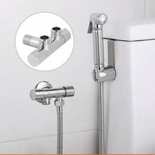 Copper Double Switch Outlet Angle Valve Bathroom Toilet Bidet Shower Faucet Tee Connector G1/2