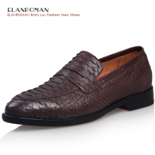 ELANROMAN men's luxury dress shoes men Python Leather Brown Slip-on Business Loafers Gentlemen High-grade Casual Flats