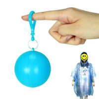 1 PC Portable Disposable Raincoat Ball Plastic Rainwear Travel Emergency Rain Poncho Disposable Keyring Ball