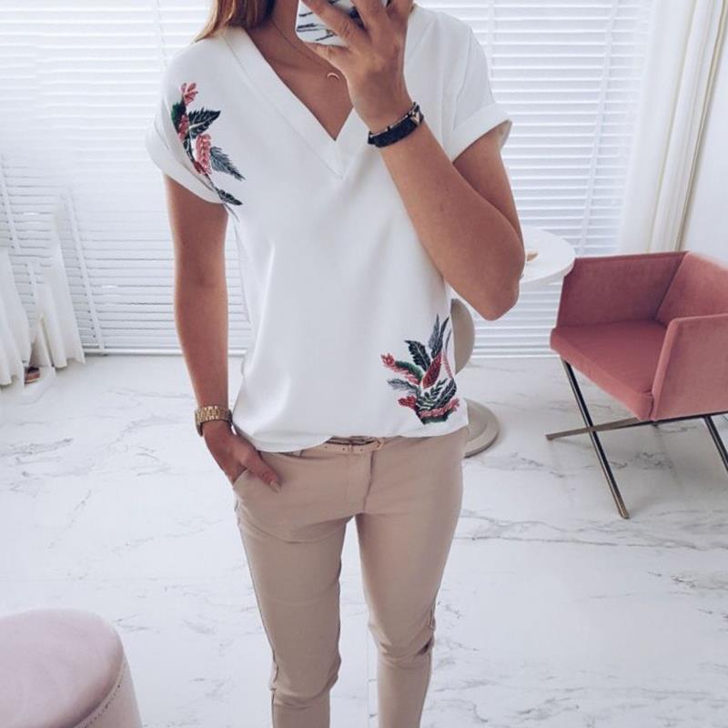 2018 été Casual Print Blusas Femmes Blanc T Shirt À Col V À Manches Courtes Coupe Regular Fit Tee Shirt WS9151C Como rasgar camiseta feminina