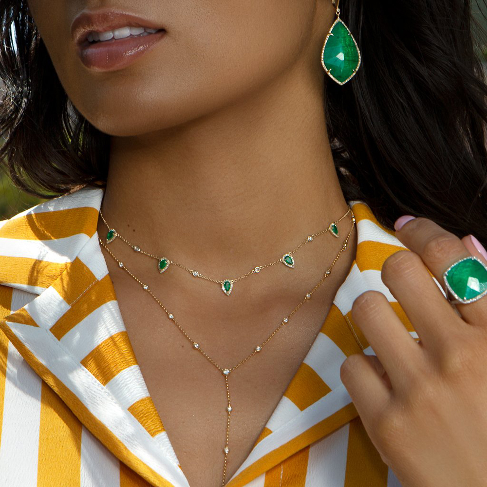 Bohemia 2018 gold color green stone statement chain necklace