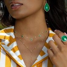 Collar cadena con piedras verdes para mujer, Gargantilla, color dorado, bohemio, elegante, 2018