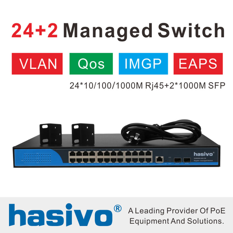 24 RJ45 10M/100M/1000M & 2 Optical Port Managed Switch  30 Watts AC100-240V 50/60HZ