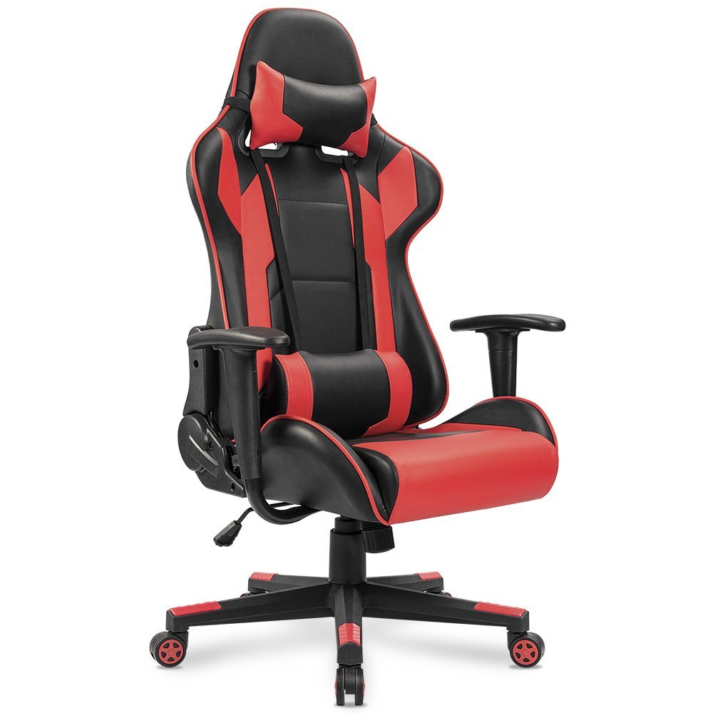 Homall Executive Swivel Leather Gaming Chair Racing Style High Back Office With Lumbar Support And Headrest White In Chairs From Furniture