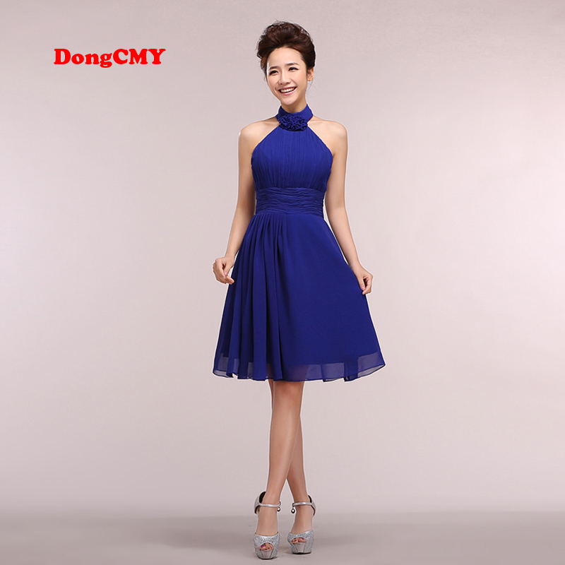 DongCMY CG0567 Backless Chiffon W New 2017 Short Sexy Fashion Party Chiffon Halter   Prom     dress