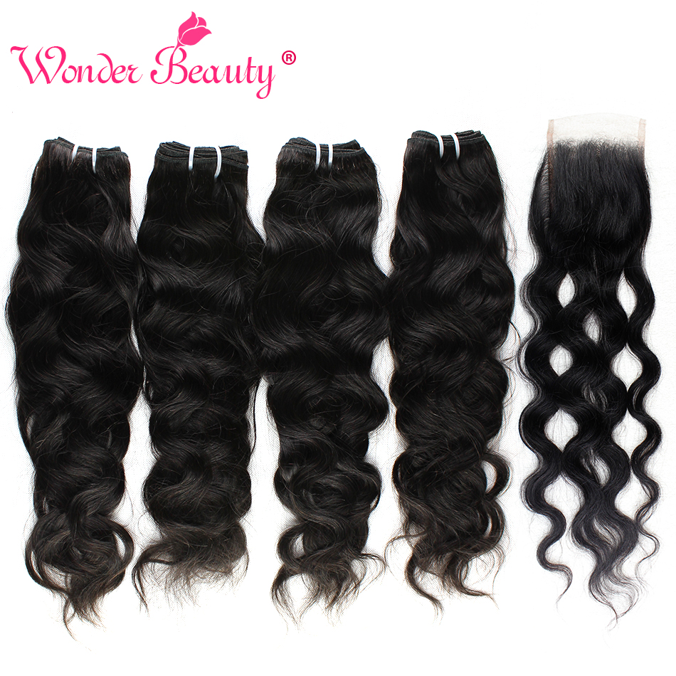 Wonder Beauty Hair Store Malaysia Natural Wave 4 Bundles With Closure 100% Human Hair Pieces Weave Wave Non Remy Hair Extensions