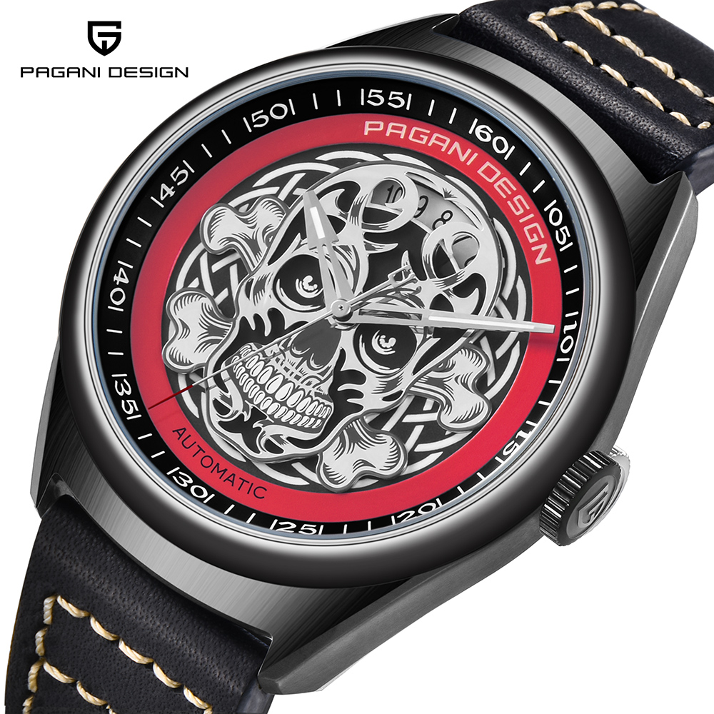 New PAGANI DESIGN Men's Classic 3D Skull Punk Style Mechanical Watches Pirate Surface Waterproof Genuine Leather Automatic Watch